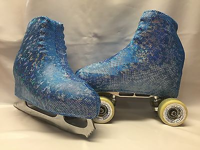 Blue Bright Holographic  Boot Covers for RollerSkates and Ice Skates  S,M,L