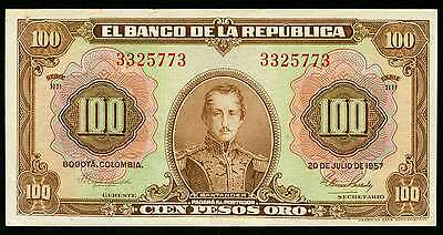 COLOMBIA   1957   100 Pesos   (773)   World  paper money  currency bank note