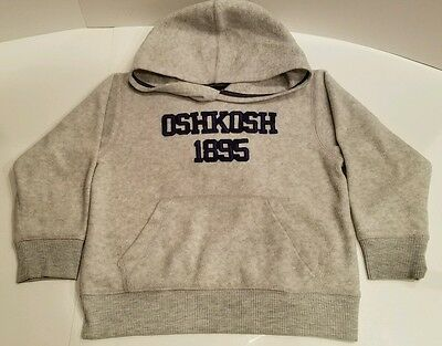 Boys Oshkosh Pullover Gray Long Sleeve Sweatshirt Hoodie Size 5 Kangaroo Pocket