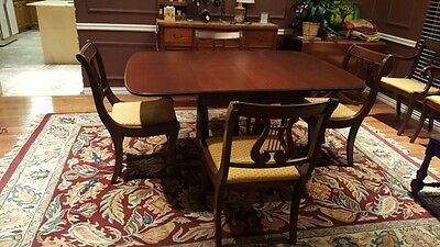 Duncan Phyfe Drop Leaf Triple Pedestal Dining Table with 6 Lyre Harp Chairs
