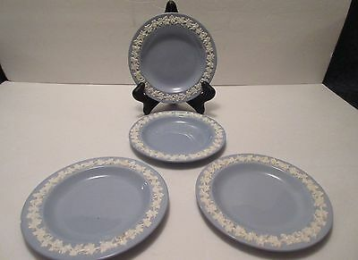 (4) Wedgwood Queensware Cream On Lavender Blue Smooth Edge Bread/Butter Plates 2