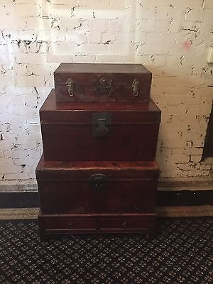 Antique Set Of Trunks. Beautiful Patina. Stylish And Practical