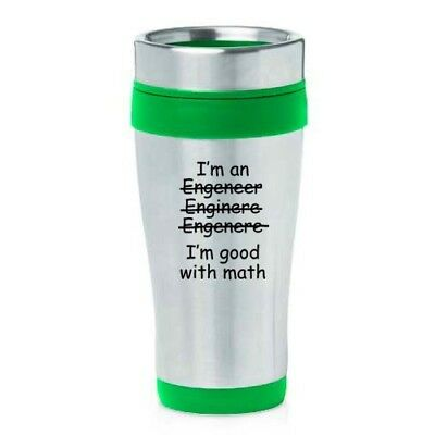 (Green) - 470ml Insulated Stainless Steel Travel Mug Funny I'm An Engineer I'm