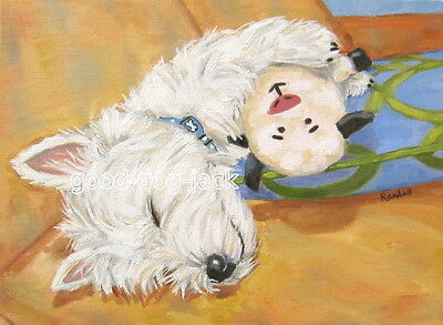 """West Highland Terrier ACEO WESTIE PRINT Painting """"All Tired Out"""" Dog Art RANDALL"""