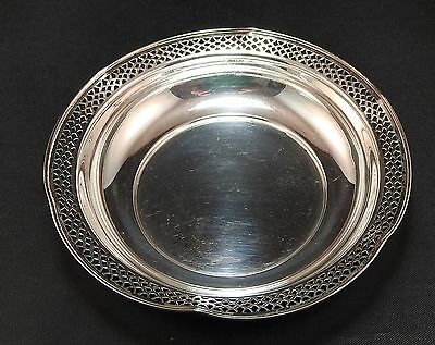 Vintage Sterling Silver Round  Bowl Reticulated Fluted Edges  55.5 grams + or -