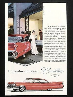 1959 Vintage Ad CADILLAC Illustration Formal Perino's Restaurant Los Angeles