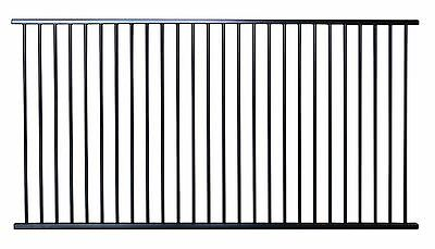 Pool Fencing Panel 2450mm x 1200mm high Flat Top in Black Satin Fence Panel