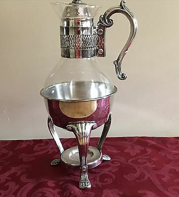Vintage Silver Plate & Glass Coffee/Tea Carafe Footed Warmer Stand