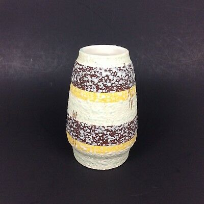 West Germany Fat Lava Vase 6 in 857-14 Ivory Brown Gold Striped Vtg Mid Century