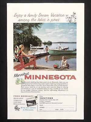 1959 Vintage Print Ad MINNESOTA Lake Boat Tourism Family Sand Castle Red Chair