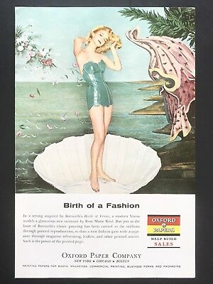 1959 Vintage Print Ad OXFORD PAPERS Blond Woman Swimsuit Clamshell Green