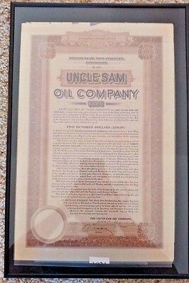 1919 Uncle Sam Oil Company Bond and Stock Certificates Framed
