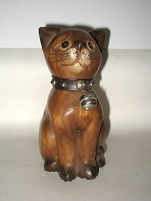 Hand Carved Wooden Cat with Spike Collar Made In Thailand 8""