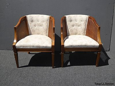 Pair Vintage French Country Wood & Cane White Tufted Accent Club Chairs