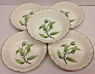 WS George BOLERO Lot of 5 Dessert Bowls, B8760 Grn leaves, Gray flowers