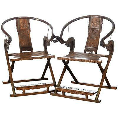 Chinese Beautiful Carved Horseshoes Folding Chairs -A pair