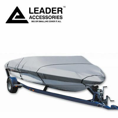 300D Grey Trailerable V-hull Tri-hull Runabout Boat Cover Fit 14' -16' Beam 68''
