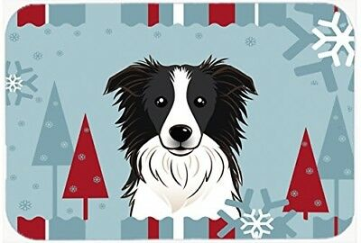Caroline's Treasures BB1737LCB Winter Holiday Border Collie Glass Cutting