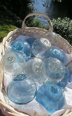 "Japanese GLASS Fishing FLOATS 3-3.5"" LOT-11 TRUE BLUE & CLEAR Buoy BALLS Vintage"
