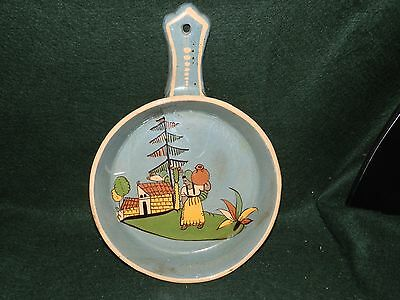 MULTICOLORED SCENIC MEXICAN POTTERY (Stamp) BLUE SKILLET SHAPE