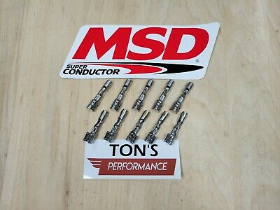MSD 34605-10 Spark Plug Wire Terminal Set Straight Double Crimp Terminals Only