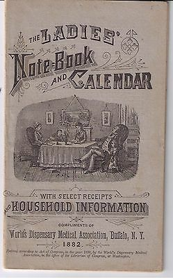 Vintage 1880's Patent Medicine Book-Ladies Notebook And Calendar
