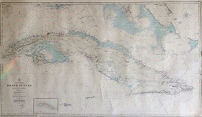 ISLAND Of CUBA & WEST INDIES LARGE SEA CHART MAP NAVY DEPT 1957
