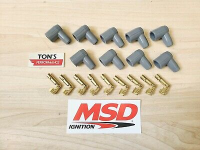 MSD Ignition 8851 Socket Distributor Boots Terminals Grey Set 9 Right angle 90