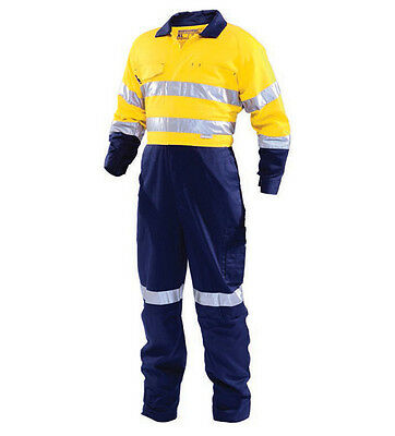 WORKHORSE Overalls; yellow/blue ; cotton; long sleeve;3m tape; 97R