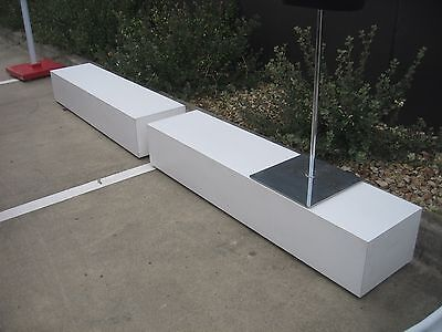 2 x LONG MOBILE PODIUMS, MANNEQUIN STANDS, ETC