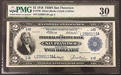 1918 US $2 FEDERAL RESERVE SAN FRANCISCO FR#779 - PMG VERY FINE 30 Battleship