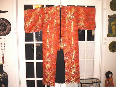 Beautiful Old Japanese Embroidered Brocade Red/Gold Wedding Kimono