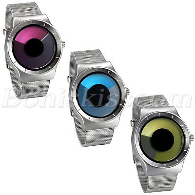 Men's Creative Stainless Steel Mesh Band Unique Vortex Dial Quartz Wrist Watch