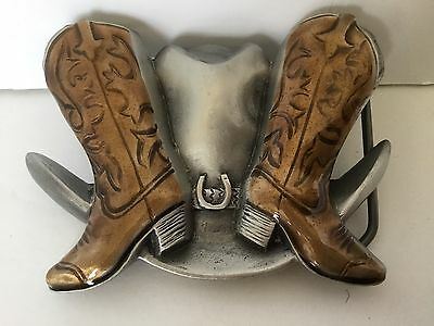 Belt Buckle Western Pewter Brown Cowboy Boots Hat 1995 Great American Novelty