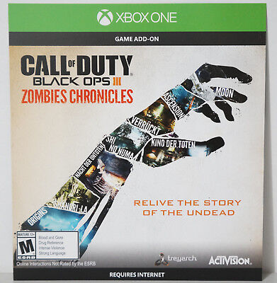 Call of Duty: Black Ops III 3 Zombies Chronicles Add On Content (Xbox One, 2017)
