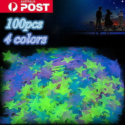 100PCS Luminous Star Wall Stickers Glow In The Dark Home Kids Room Décor Decal