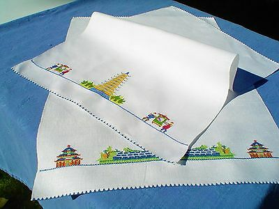 Vintage All Linen Pair of Tea Towels w/MicroCross Stitch, Collectable Asian Art