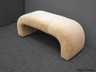 Unique Vintage Modern Contemporary Waterfall Style Upholstered Beige Bench