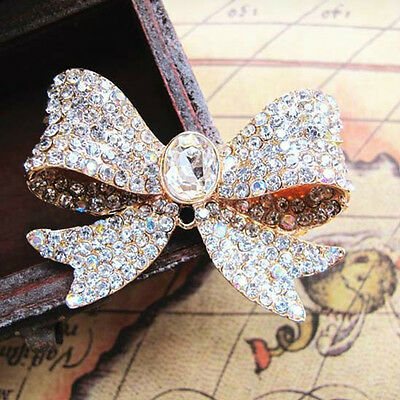 1 x  LARGE GOLD ALLOY DIAMANTE RHINESTONE BOW DIY PHONE/SHOE EMBELLISHMENT