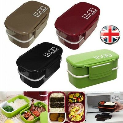 Microwave Plastic Lunch Bento Box Picnic Food Container Large Storage Spoon Fork