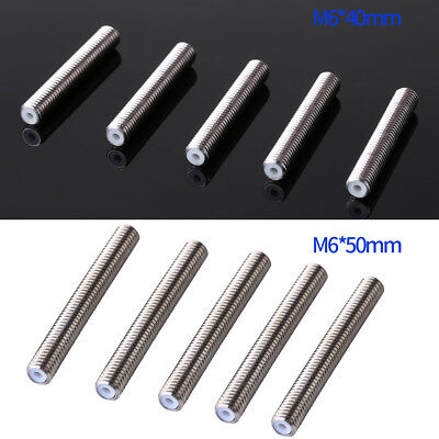 5pcs Nozzle Throat Tube 30/40/50mm for 3D Printer MK8 Extruder 1.75mm M6 Hot