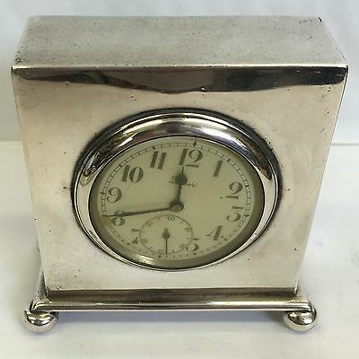 Antique Solid Silver Dingley Brothers Boudoir Clock 1923 Working 8cm