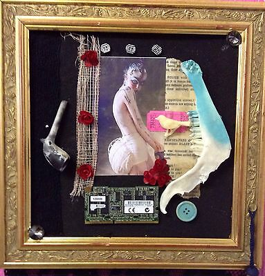 "Mixed Media Collage Assemblage Art  Erotica Canvas 13x13 "" Approx."