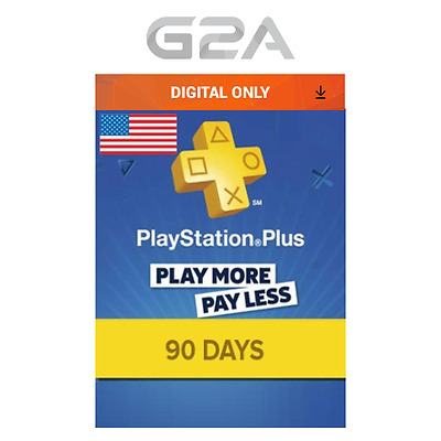 Playstation Plus 90 Days Card - PSN 90 Days Code PS US Store - SONY 3 Months Key