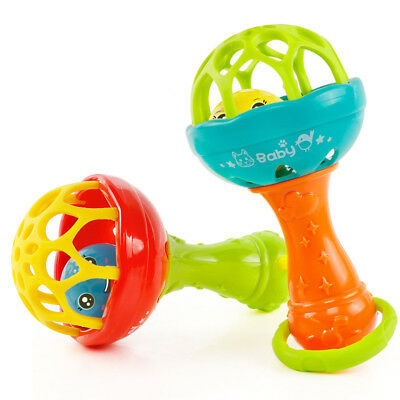 2017 Newest Rattles Plastic Hand Bell Rattle Fun Mobiles Toys Xmas Birthday Gift