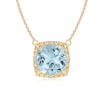 "Cushion Natural Aquamarine Diamond Pendant Necklace 14k Solid Gold 18"" Chain"