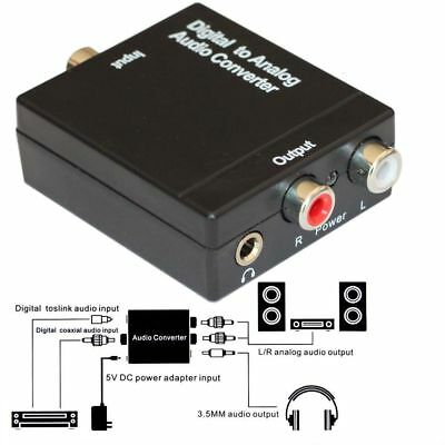 3.5mm Optical Coaxial Toslink Digital to Analog Audio Converter Adapter RCA GB
