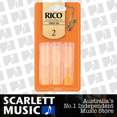 Rico Tenor Sax Saxophone Reeds 3 Pack Reed Size 2 ( Two ) RKA0320 3PK