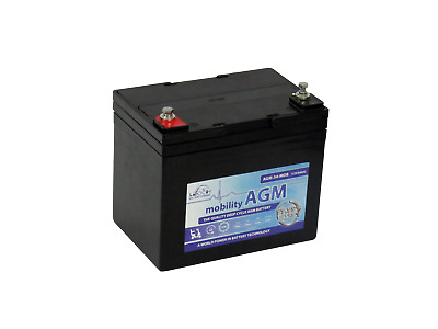 TWO x LEOCH 12V 34Ah (also replaces 33Ah & 35Ah) - MOBILITY  SCOOTER BATTERIES *