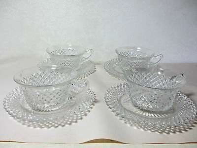 Vintage Hocking Glass Crystal Miss America 4 Cups & 4 Saucers Clear Glassware